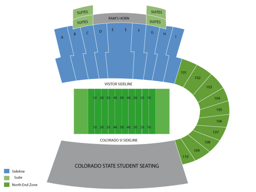 Oregon State Beavers at Colorado State Rams Football Venue Map