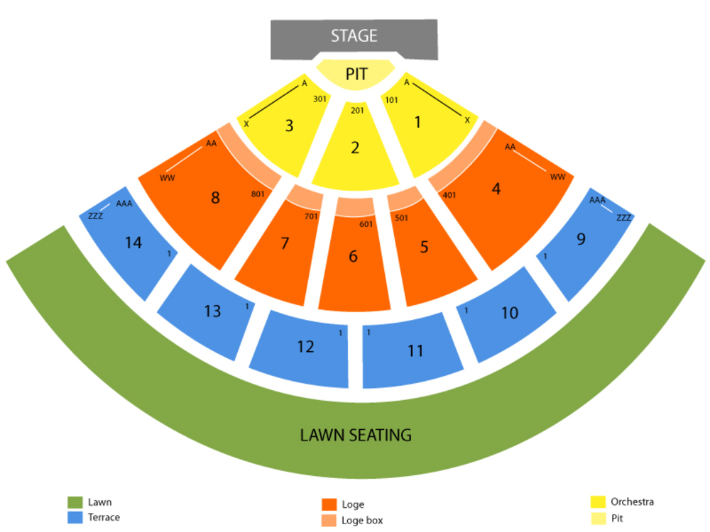 Seating Chart for End Stage Seating Chart at Verizon Wireless Amphitheater (Irvine Meadows)