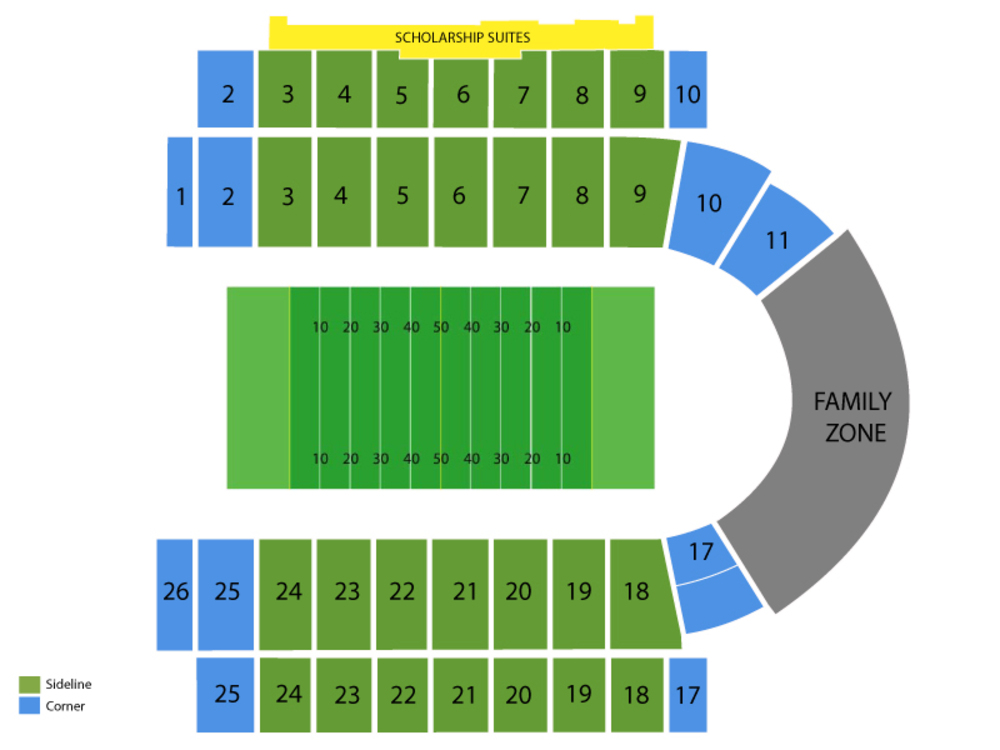 Seating Chart for Football Seating Chart at Memorial Stadium (Kansas)