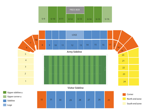 Eastern Michigan Eagles at Army Black Knights Football Venue Map