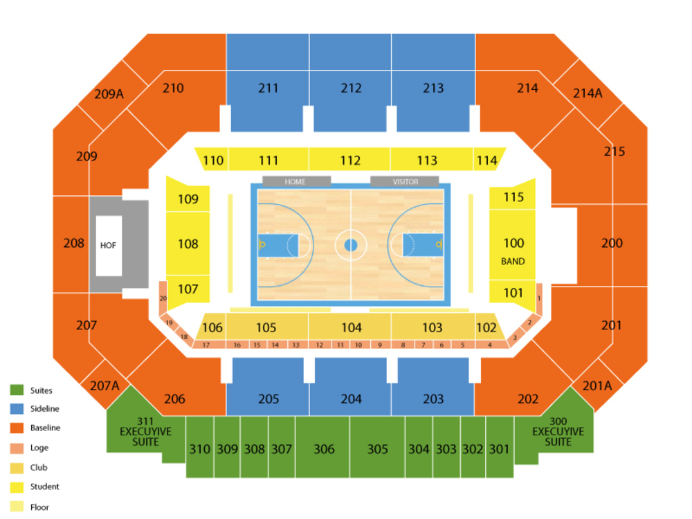 Seating Chart for Basketball Seating Chart at Moody Coliseum