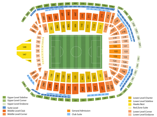 Los Angeles Galaxy at Seattle Sounders FC Venue Map