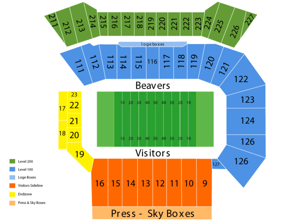 USC Trojans at Oregon State Beavers Football Venue Map