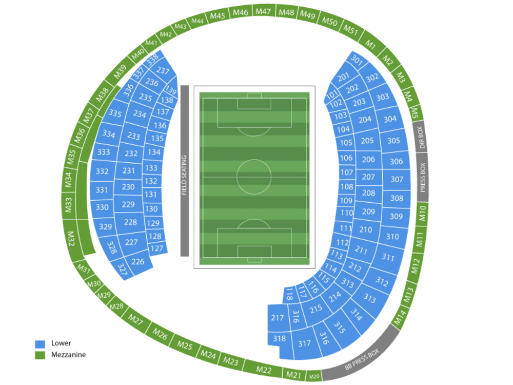 Los Angeles Galaxy at DC United Venue Map