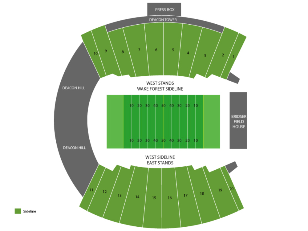 Notre Dame Fighting Irish at Wake Forest Demon Deacons Football Venue Map