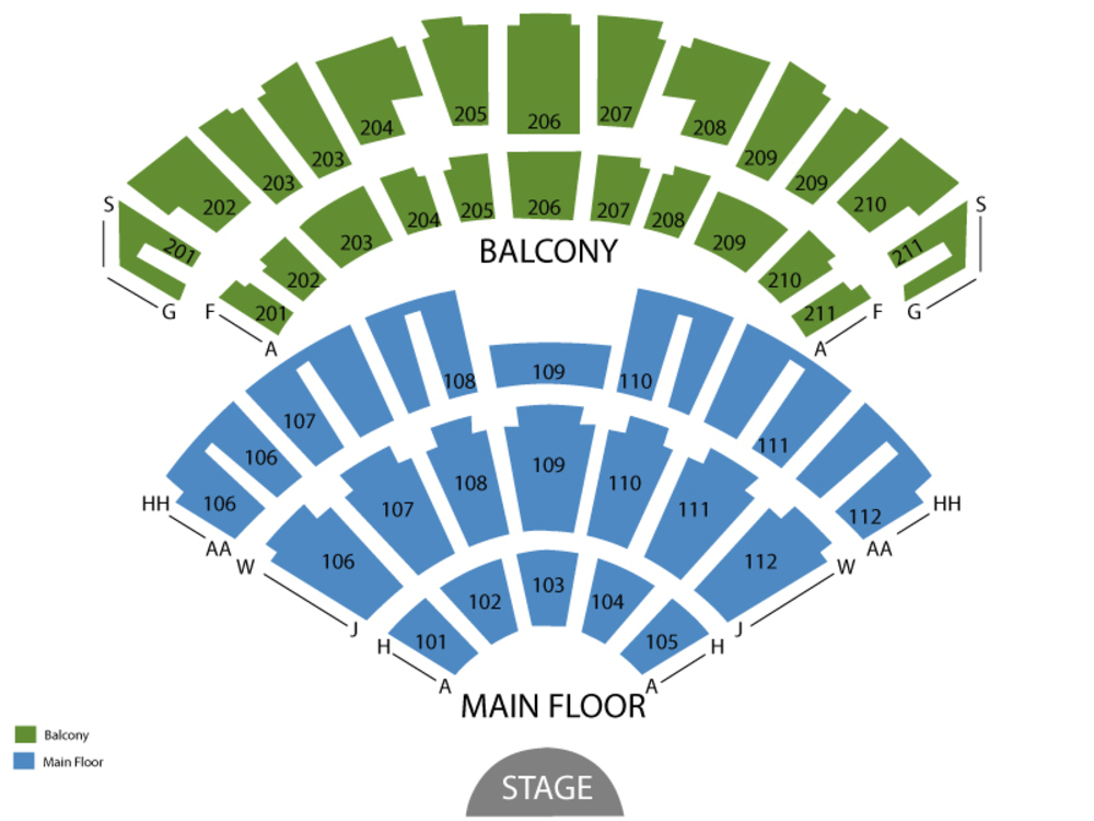 Seating Chart for End Stage Seating Chart at Rosemont Theatre