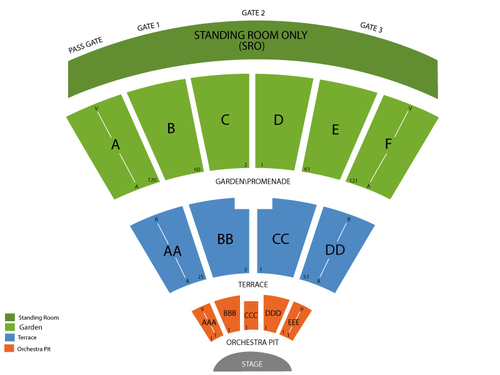San Diego State Open Air Theatre Seating Chart