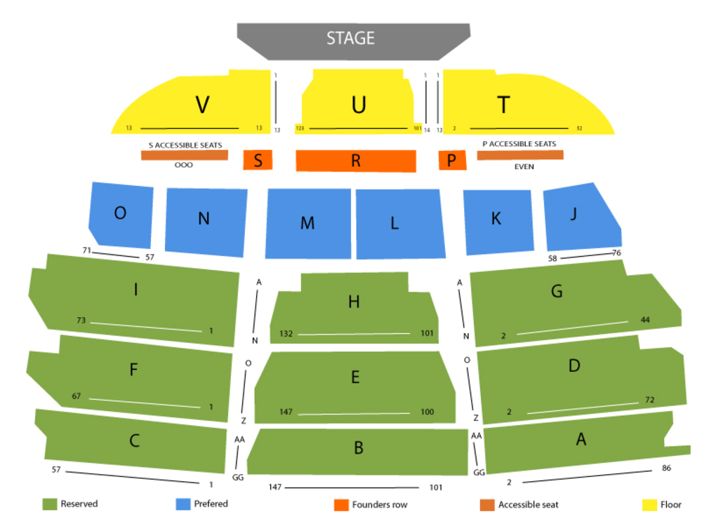 Seating Chart for End Stage Seating Chart at Santa Barbara Bowl