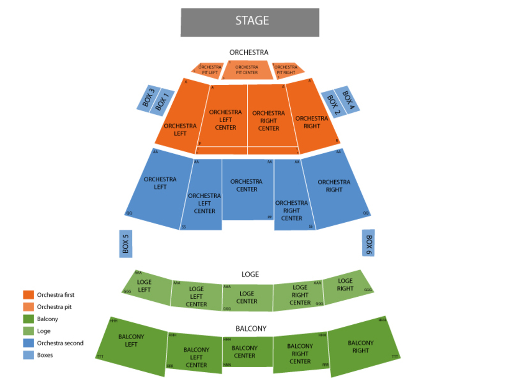Seating Chart for End Stage Seating Chart at Times Union Ctr Perf Arts Moran Theater