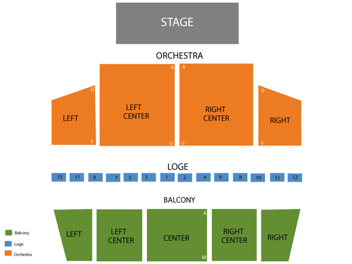 Town Hall Theatre Seating Chart