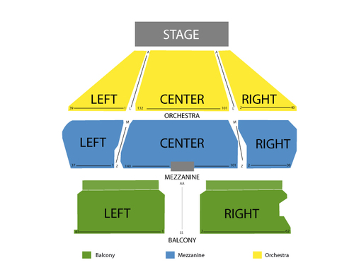 Tropicana showroom seating chart events in atlantic city nj
