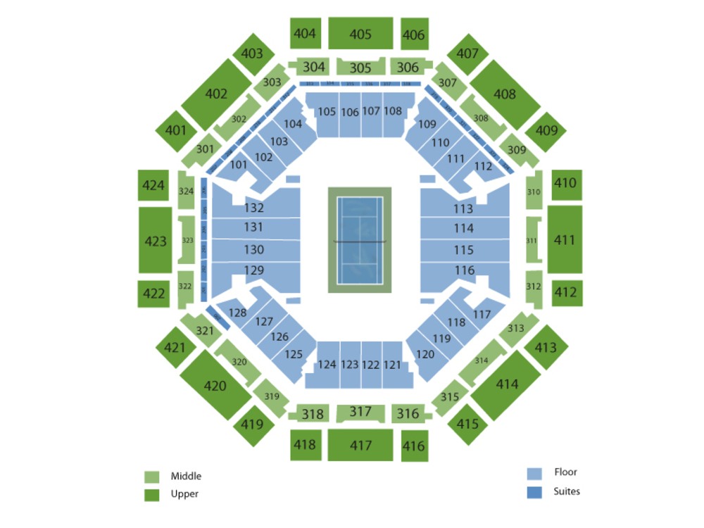 Miami Open Tennis: Session 9 - Men's Singles 2nd Round/Doubles & Women's Singles 3rd Round Venue Map