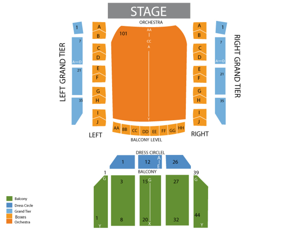 Seating Chart for Full House Seating Chart at Lyric Opera House (Baltimore)