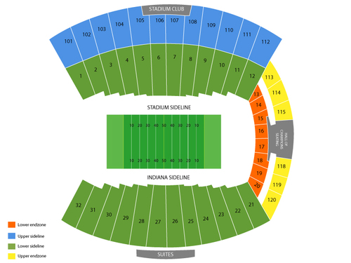 Missouri Tigers at Indiana Hoosiers Football Venue Map