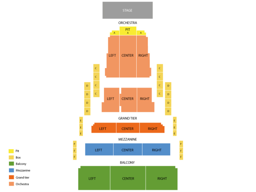 Civic Center Music Hall seating map and tickets