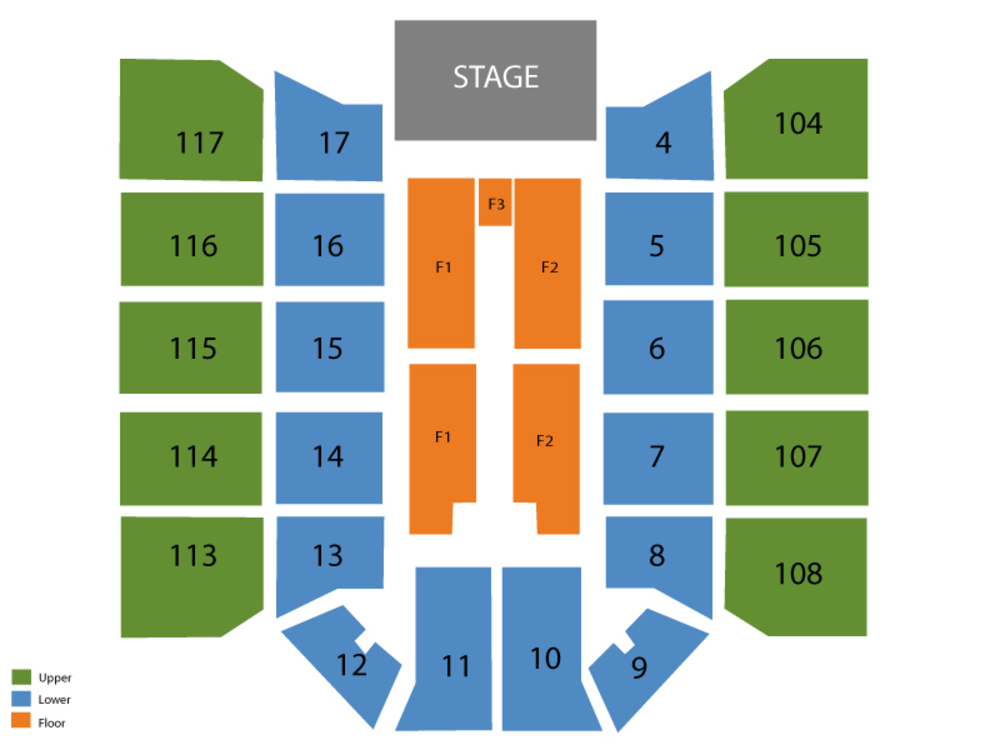 Seating Chart for End Stage Seating Chart at McKay Events Center