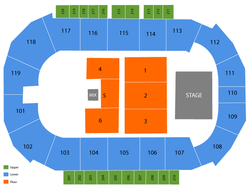 Showare center seating chart events in kent wa