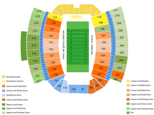 William and Mary Tribe at West Virginia Mountaineers Football Venue Map