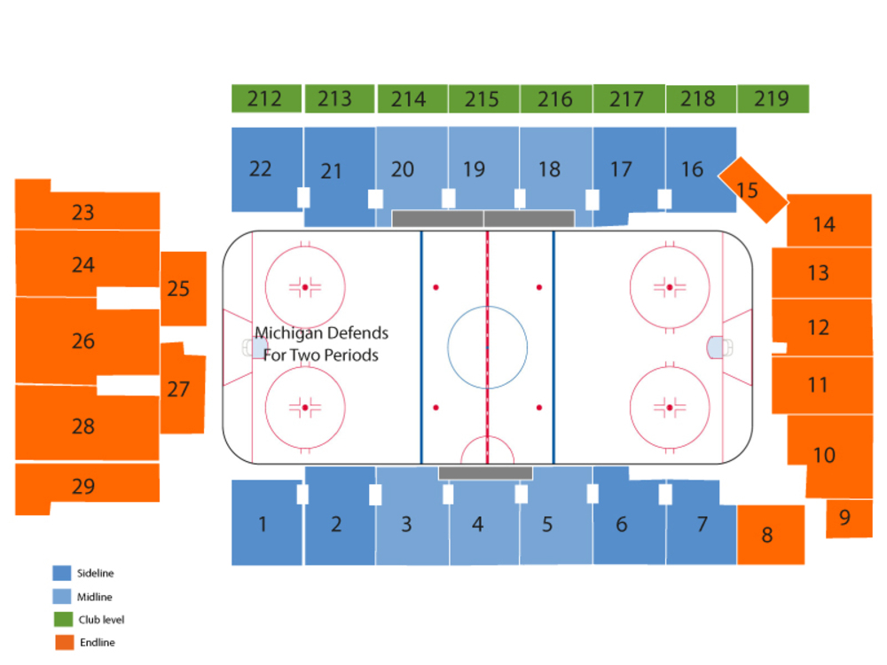 Wisconsin Badgers at Michigan Wolverines Hockey Venue Map