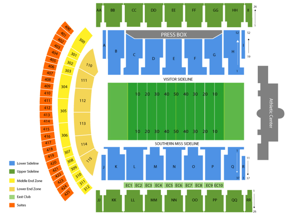 UNC Charlotte 49ers at Southern Miss Golden Eagles Football Venue Map