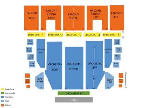 Proctors theatre seating chart events in schenectady ny