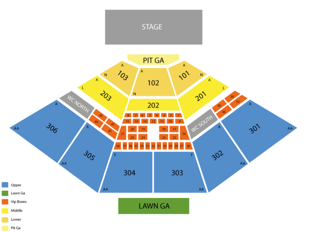 USANA Amphitheatre seating map and tickets