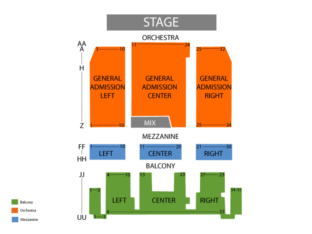 Danforth Music Hall seating map and tickets