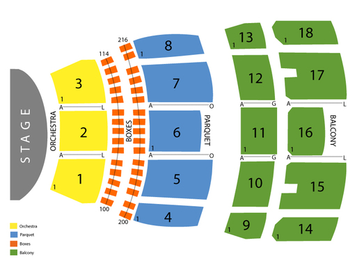 Mahalia Jackson Theater of the Performing Arts Seating Chart