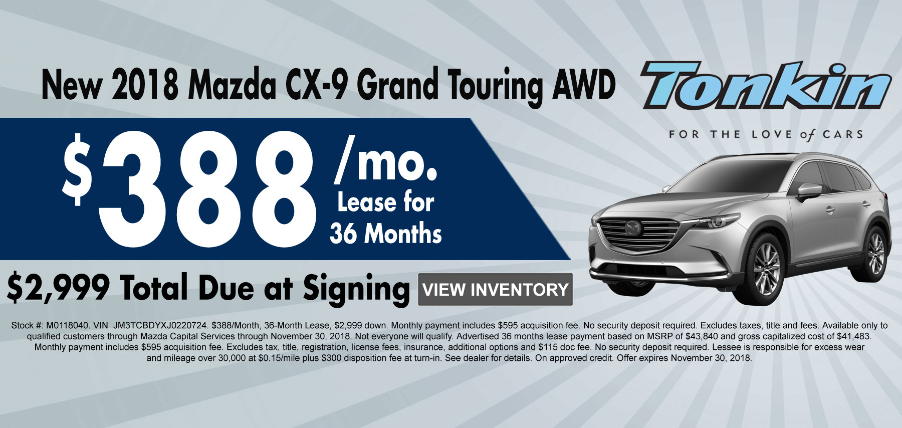 New 2018 Mazda CX-9 Grand Touring AWD Lease