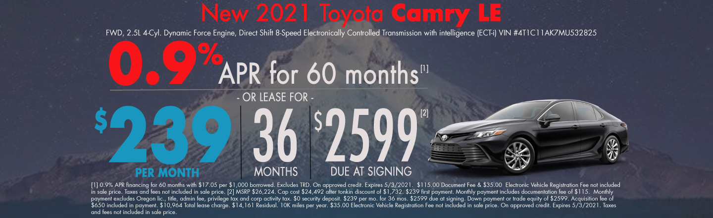 New 2021 Toyota Camry Lease Special