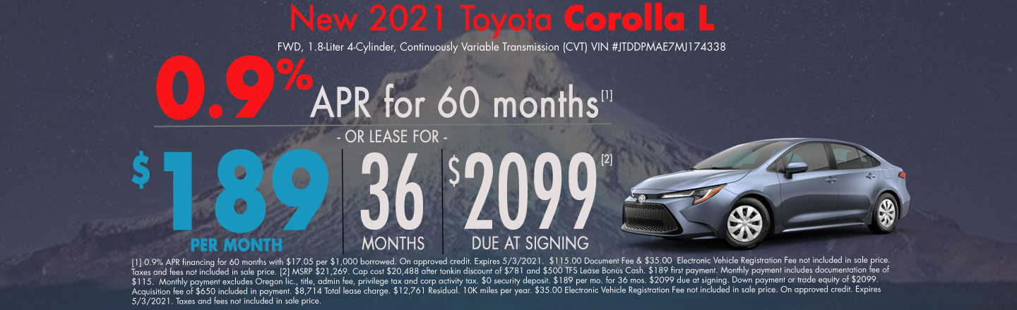 New 2021 Toyota Corolla Lease Special
