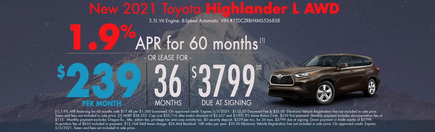 New 2021 Toyota Highlander Lease Special
