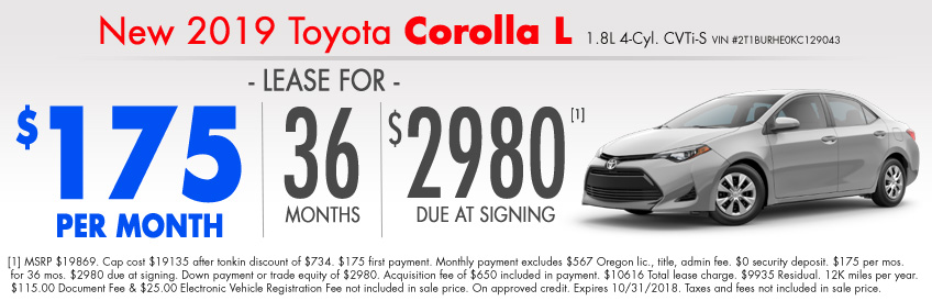 Toyota Lease Special