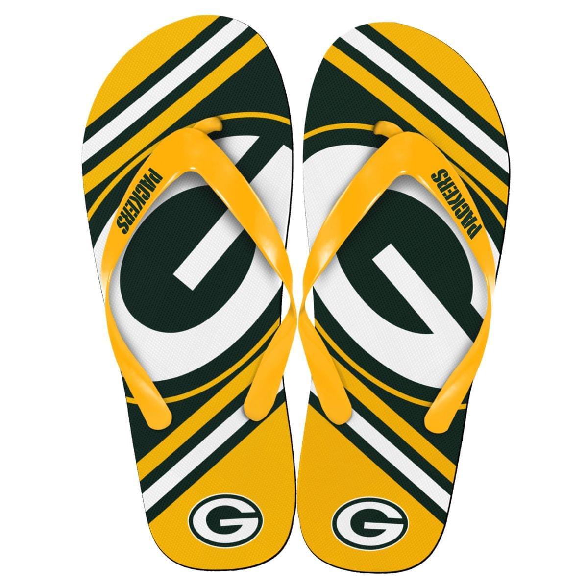 Green Bay Packers NFL Unisex Big Logo Flip Flops X-Small (W 5-6)