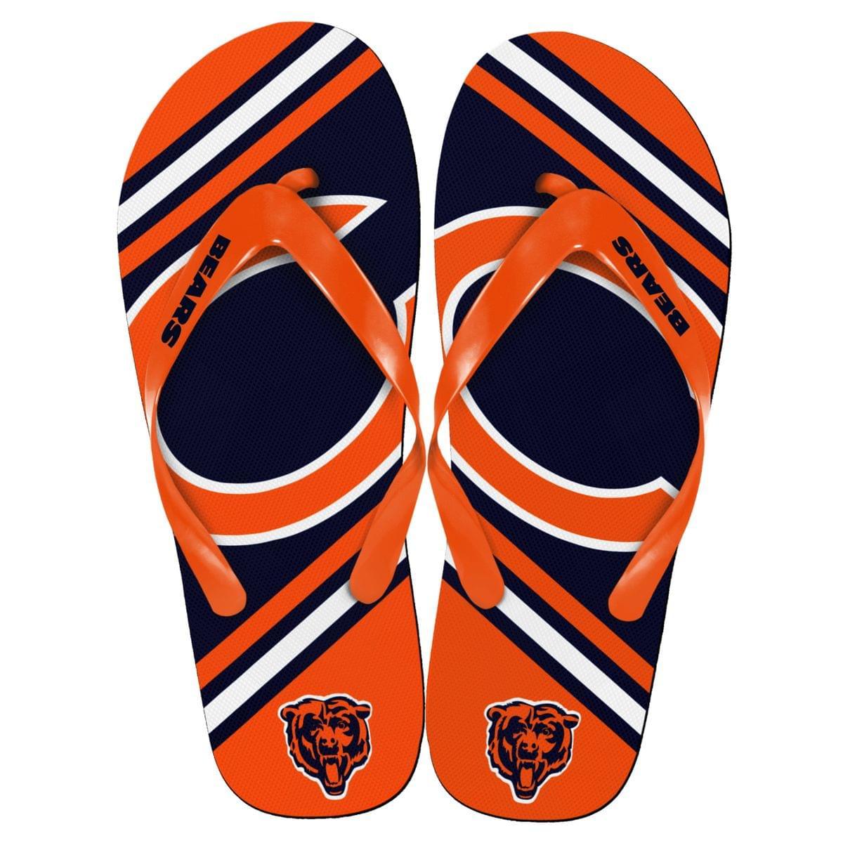 Chicago Bears NFL Unisex Big Logo Flip Flops Medium (W 9-10/M 7-8)