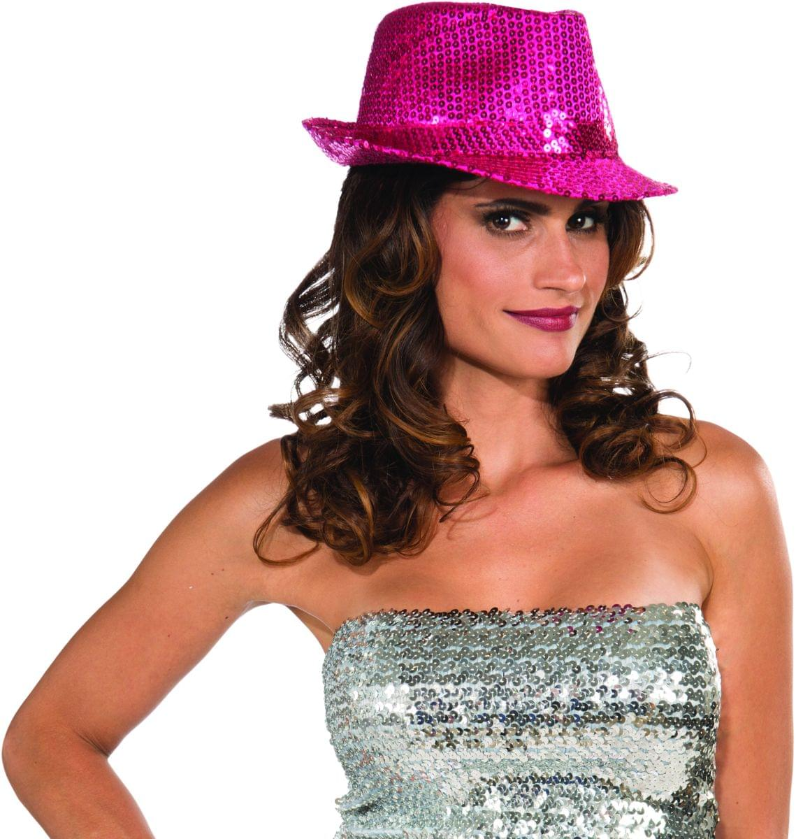 48a3b345460b2 Sequin Fedora Costume Hat Adult  Magenta One Size 721773707049