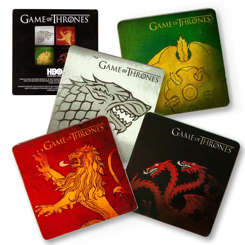 Game Of Thrones Coasters   Nerd Block Exclusive Drink Coaster Pads   Set of 4