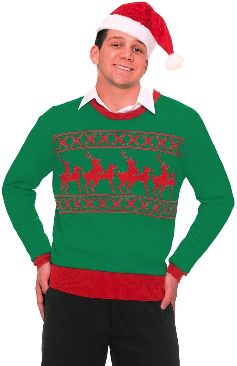 Ugly Christmas Humping Reindeer Adult Sweater Medium