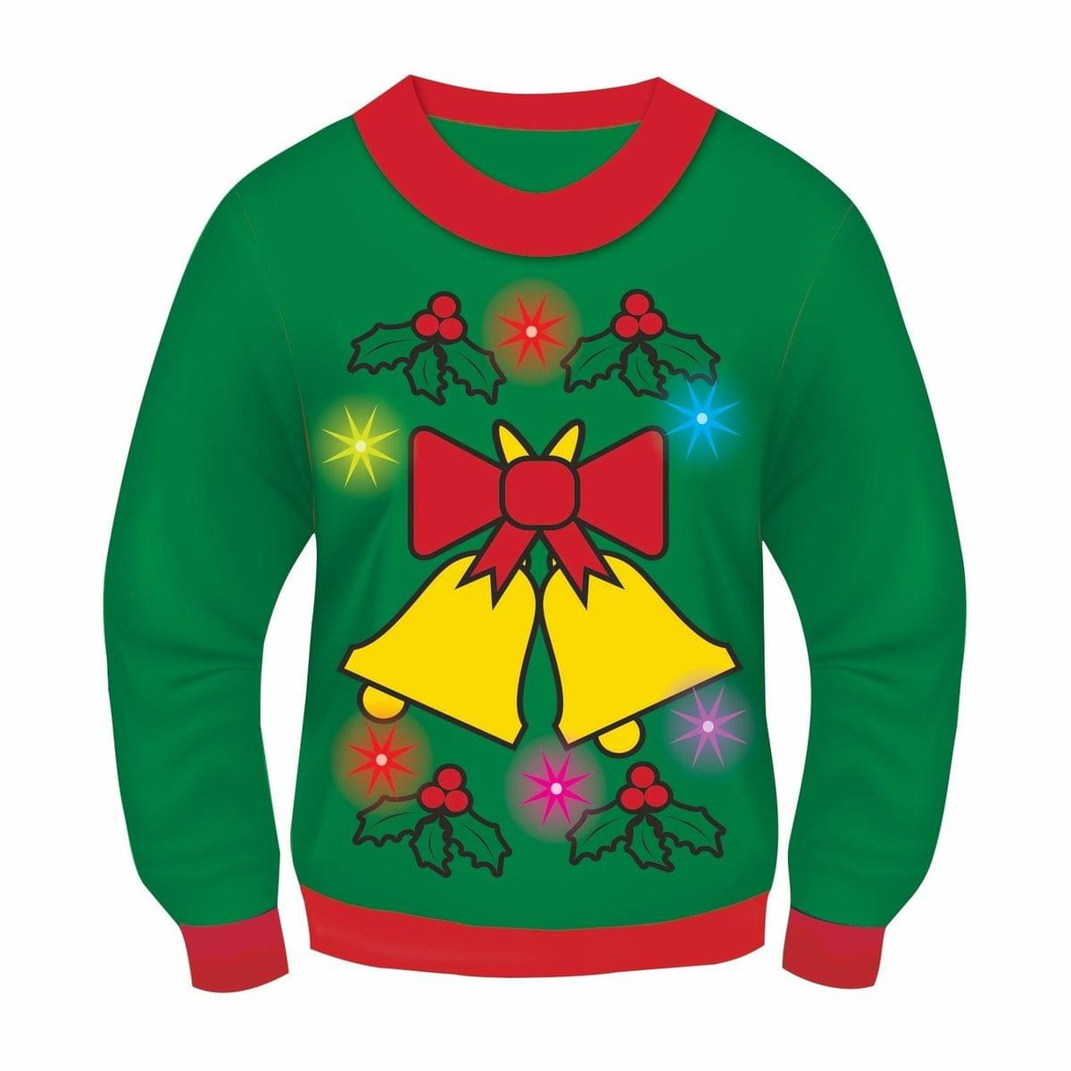 Green Musical Light-Up Jingle Bells Adult Ugly Christmas Sweater Medium