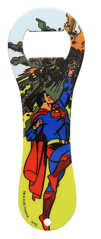 DC Comics Superman Meteor Dogbone Bottle Opener, Yellow Background