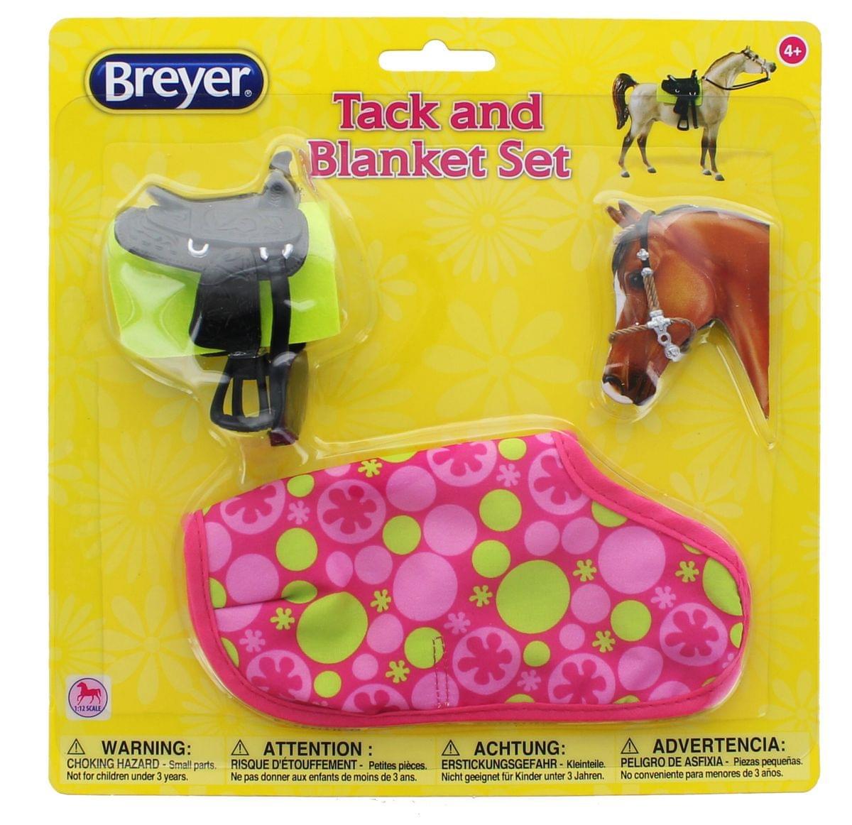 Breyer 1:12 Classic Model Horse Tack and Blanket Set, Pink & Green