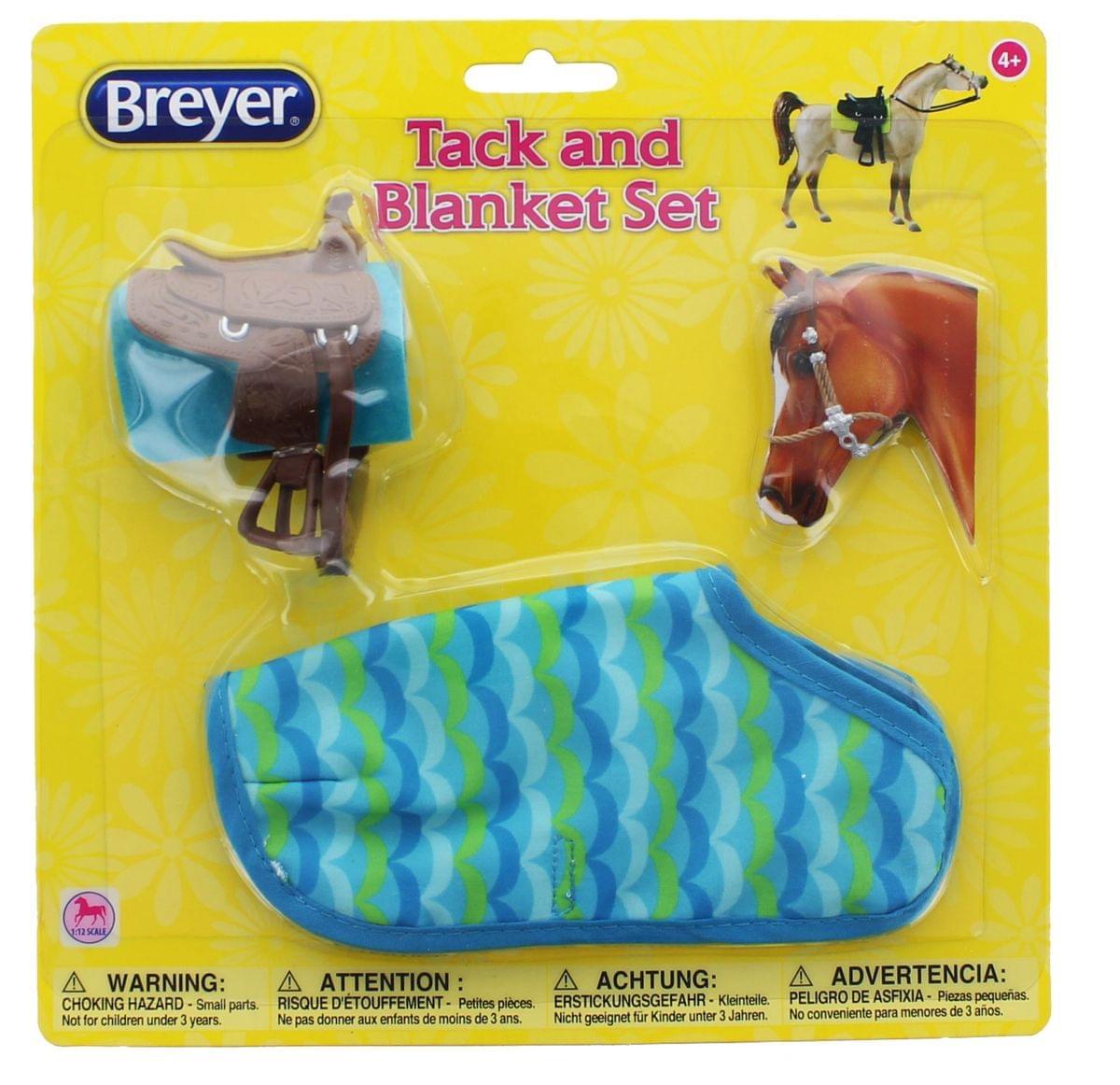 Breyer 1:12 Classic Model Horse Tack and Blanket Set, Blue & Green