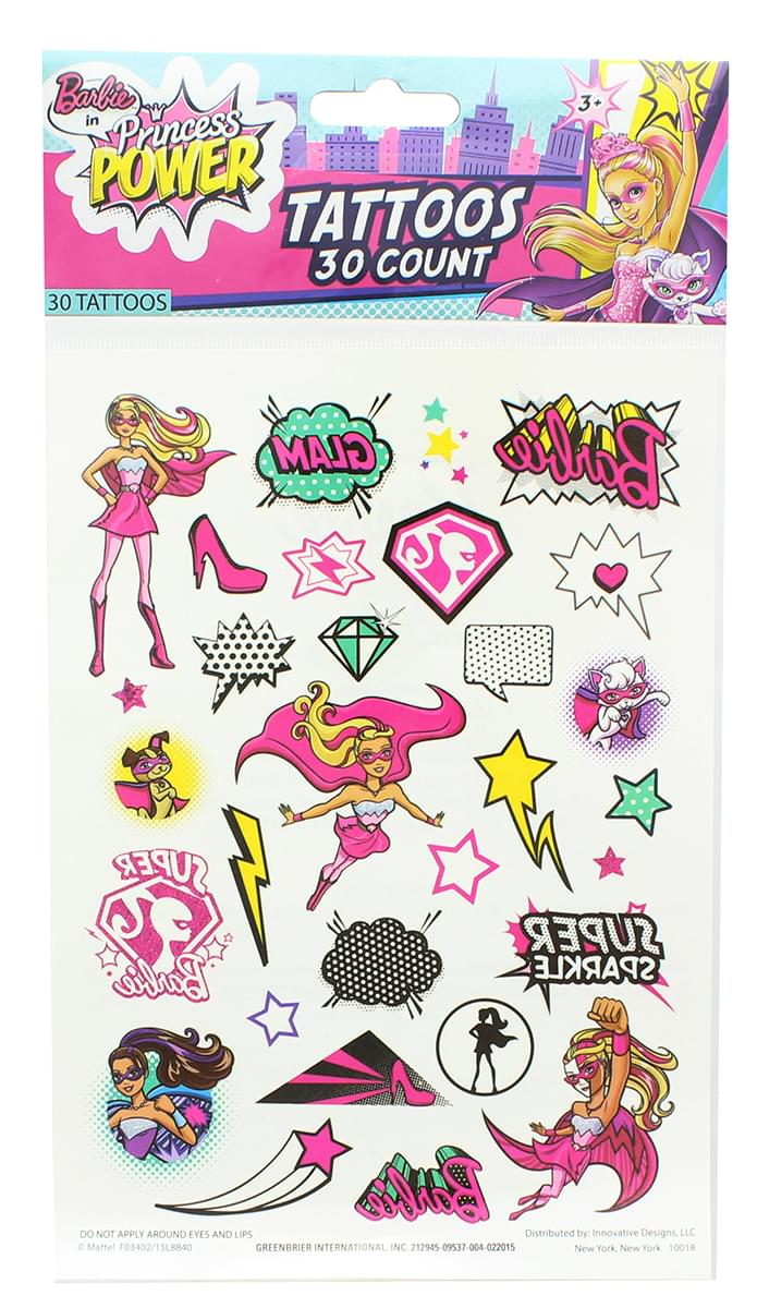 Barbie Temporary Tattoos, Single Sheet 30 Designs