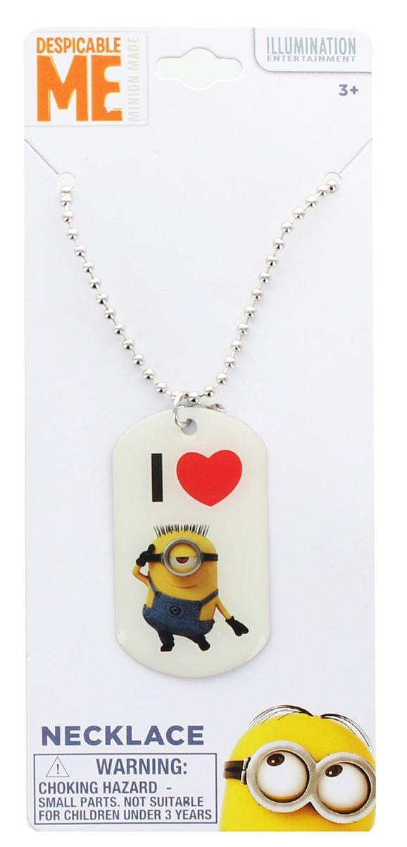 Despicable Me Dog Tag Necklace - I Love Minions