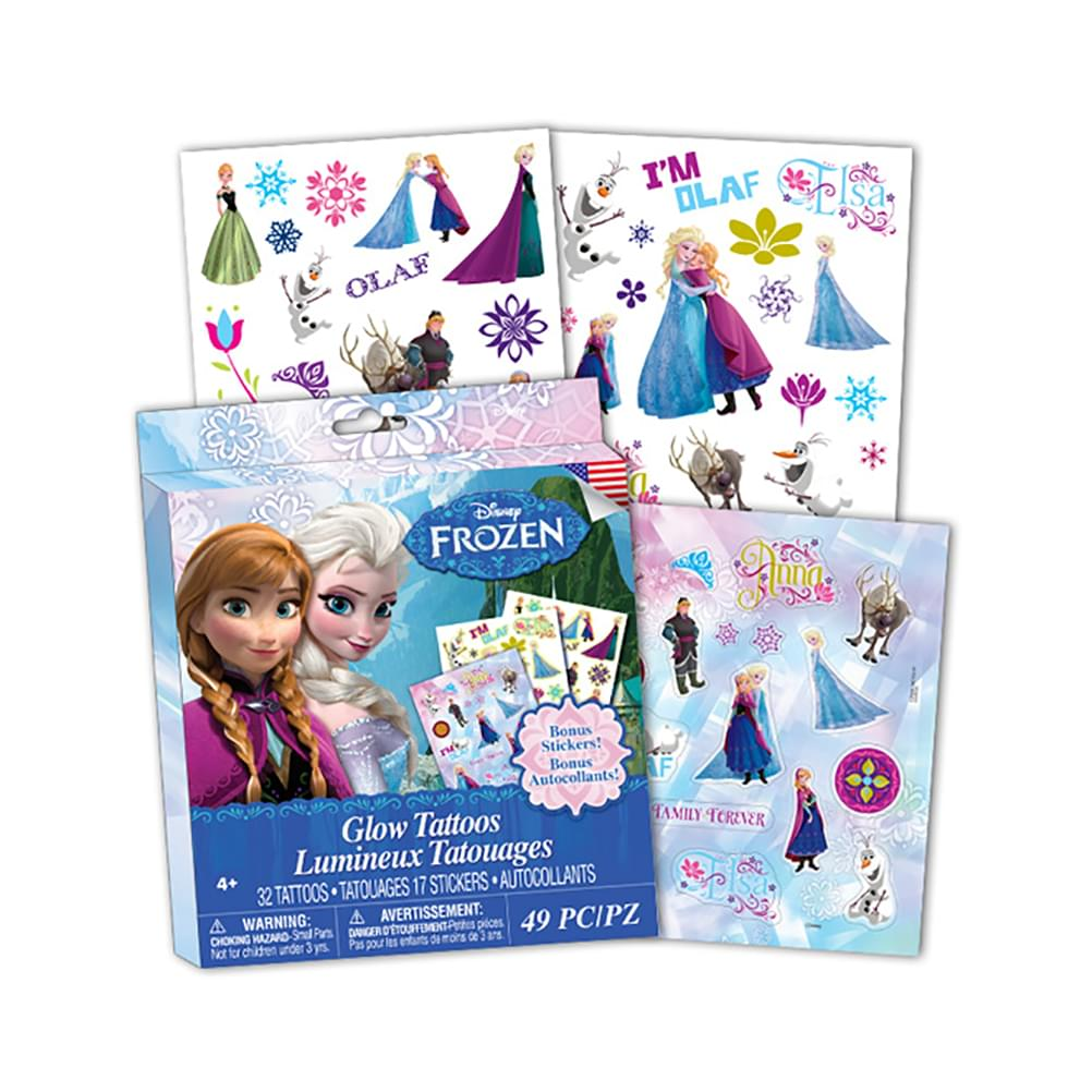 Disney Frozen Glow Temporary Tattoos w/ Bonus Stickers, 49 Pieces
