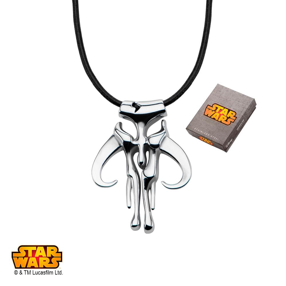 Star Wars Mandalorian Symbol Stainless Steel Pendant Necklace with Leather Cord