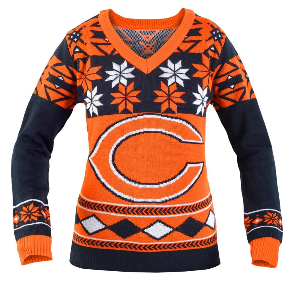 Chicago Bears NFL Women's Big Logo V-Neck Ugly Christmas Sweater Small