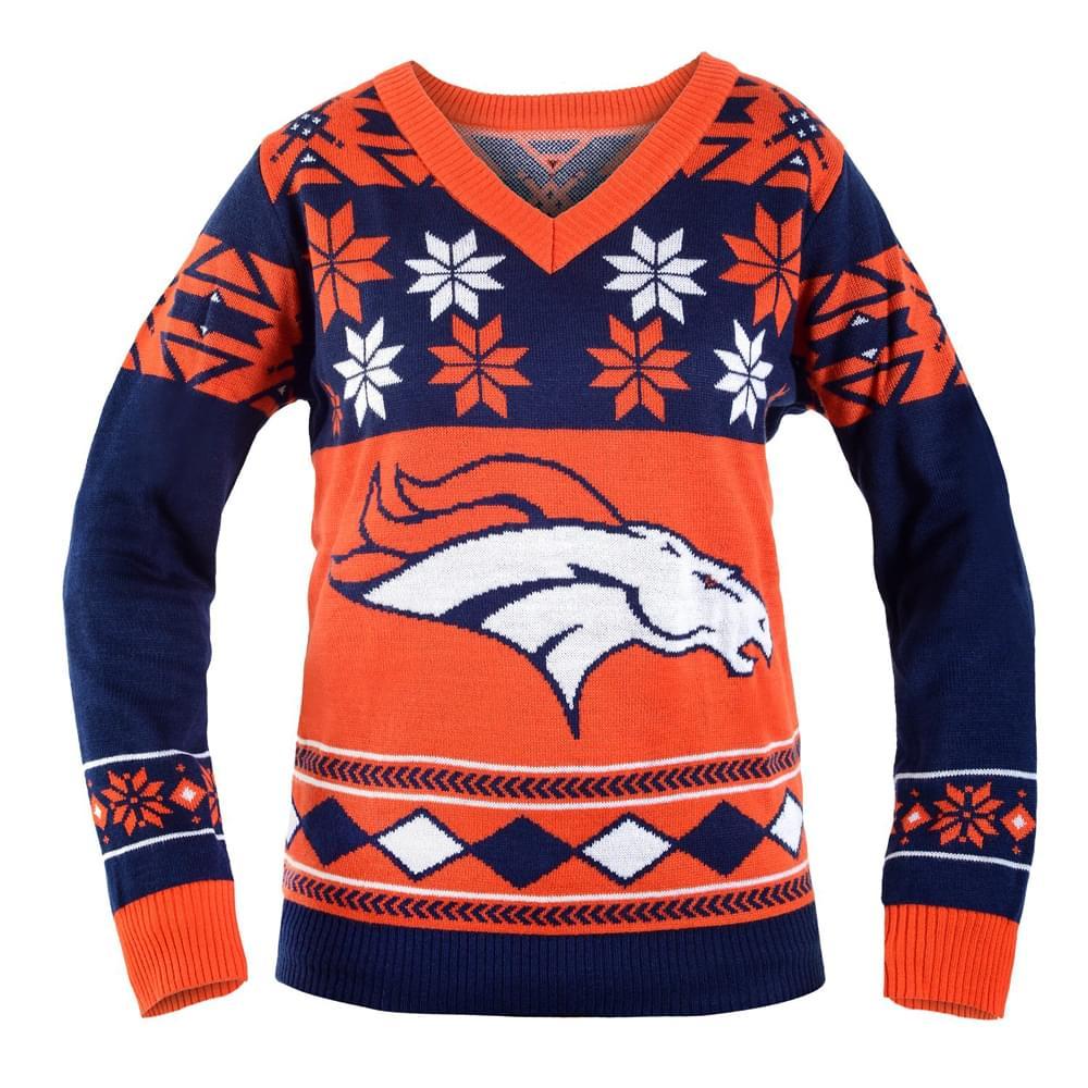 Denver Broncos NFL Women's Big Logo V-Neck Ugly Christmas Sweater Small