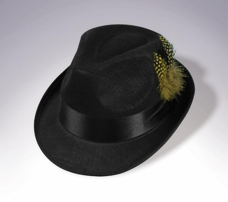 b27737409a304 Black Hip Hop Felt Fedora With Feather Adult Costume Hat ...