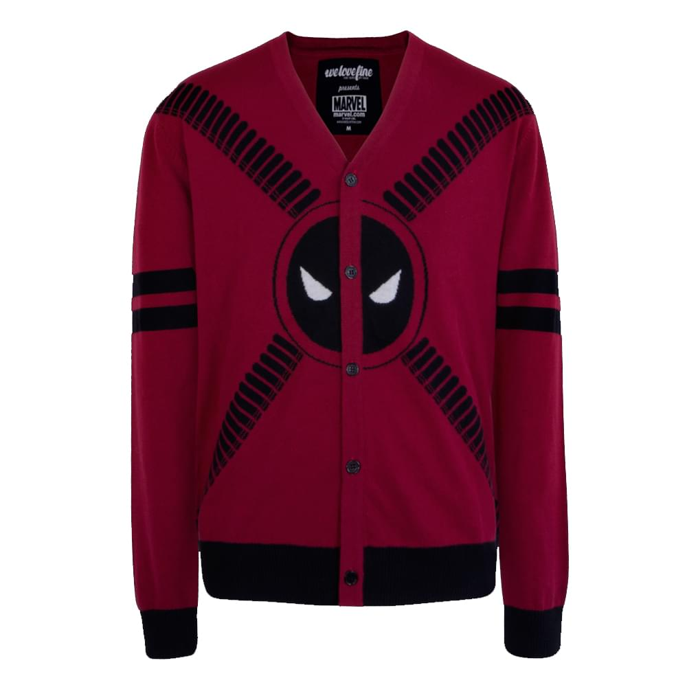 Deadpool 5 Button Adult Cardigan Sweater: Medium